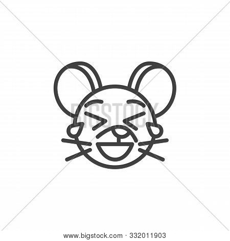 Laughing Rat Emoticon Line Icon. Linear Style Sign For Mobile Concept And Web Design. Tear Laugh Mou