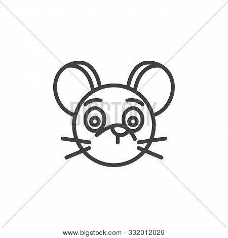 Silent Rat Emoticon Line Icon. Linear Style Sign For Mobile Concept And Web Design. Silent Mouse Fac