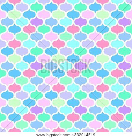 Seamless Mosaic Multicolour Pattern. Diagonal Texture. Vector Art.