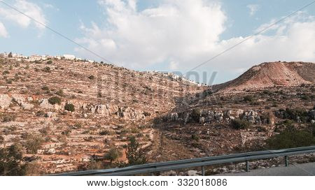 Rosh Haayin, Israel, October 31, 2019 : View From The Highway Number 5 To The Palestinian Village Si