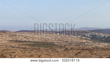 Rosh Haayin, Israel, October 31, 2019 : View From The Highway Number 5 To Jordan Mountains And The P