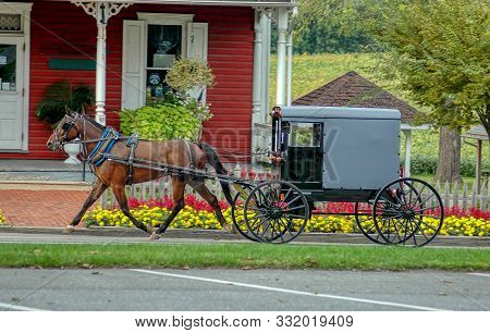 Amish Horse And Buggy Trotting To Country Store On A Summer Day