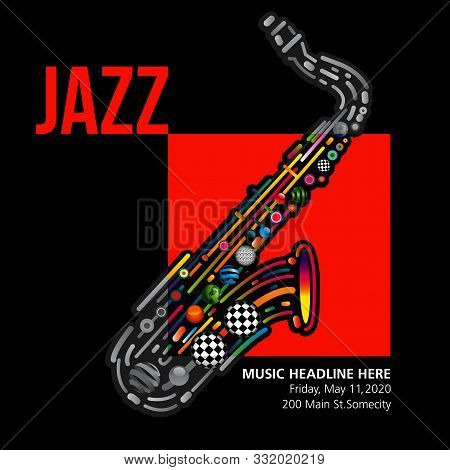 Jazzy Colorful Music Background With An Abstract Sax.  A Template With Multiple Possibilities.
