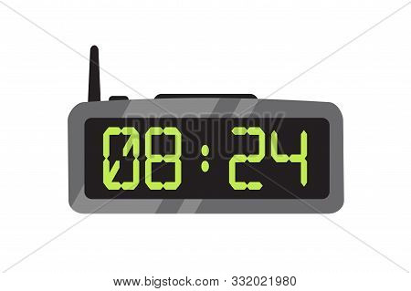 Electronic Alarm Clock Flat Vector Illustration. Contemporary Digital Timepiece. Radio Clock With An