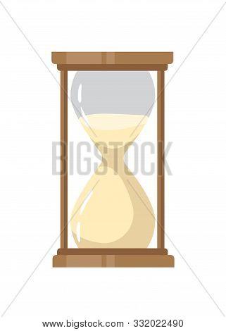 Sandglass Flat Vector Illustration. Vintage Timepiece Color Design Element. Old-fashioned Hourglass,