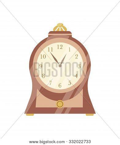 Vintage Clock Flat Vector Illustration. Elegant Retro Wooden Timepiece With Round Clockface. Antique