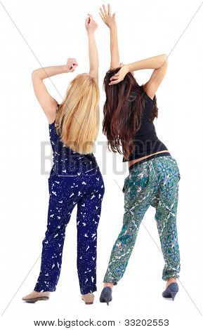 back view of two beautiful young woman dancing. Rear view people collection.  backside view of person.  Isolated over white background