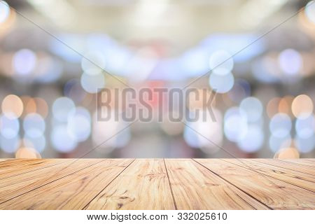 Wood Table Top Counter On Bright Bokeh Interior Background With White Table Top For Backdrop Design,