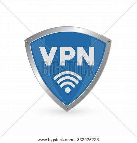 Shield With Vpn And Wifi Wireless Internet Icon Isolated On White Background. Vpn Protect Safety Con