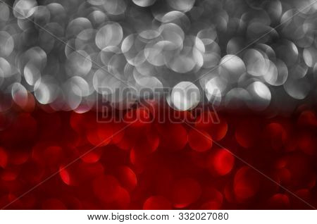 Abstract Two Color Texture Glitter Lights Background. Silver, Red. De-focused.