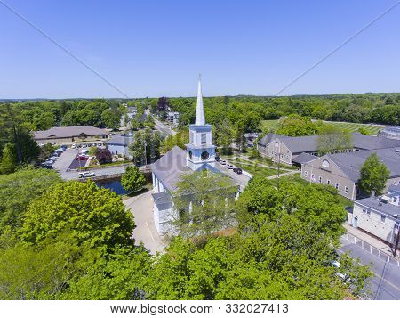 Aerial View Of Unitarian Church At Medfield Historic Town Center On Main Street In Summer, Medfield,