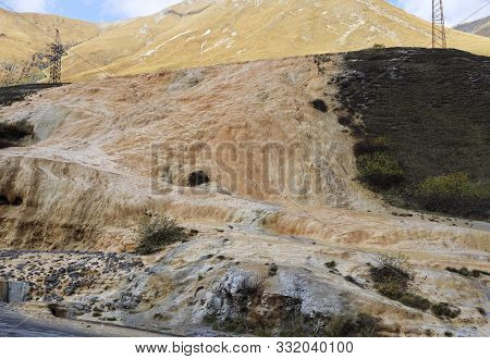 Travertines Of Jvari Pass In Kazbegi National Park, Georgia.
