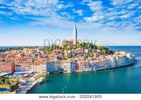 Croatia, Istria, Beautiful Old Town Of Rovinj On Adriatic Sea Coastline, Aerial View From Drone