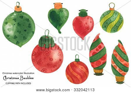 Christmas Bulbs And Baubles, Watercolor Isolated Illustration With Clipping Path