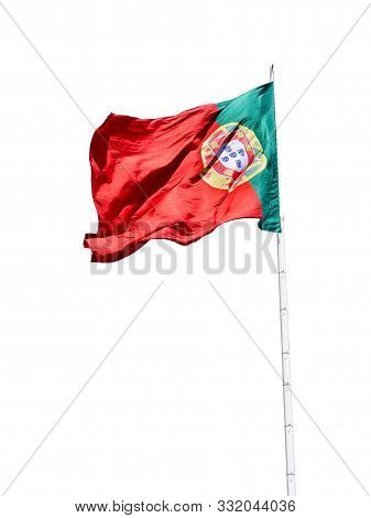 Portuguese National Flag Waving, Isolated On The White Background
