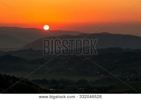 Fall In Slovakia. Meadows And Fields Landscape Near Hrinova At Sunset.