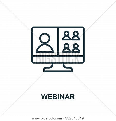 Webinar Icon Outline Style. Thin Line Creative Webinar Icon For Logo, Graphic Design And More