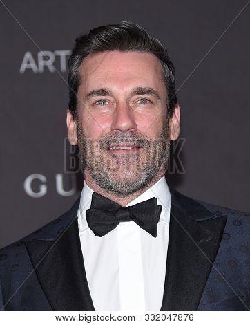 LOS ANGELES - NOV 02:  Jon Hamm arrives for the LACMA Art and Film Gala 2019 on November 02, 2019 in Los Angeles, CA