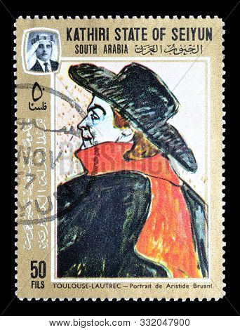 Cancelled Postage Stamp Printed By  Kathiri State Of Seiyun, That Shows Painting By Henri De Toulous