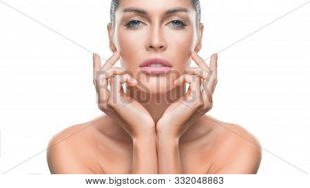 Woman With Perfect Skin Touching Her Face. Anti-age Skin Care And Tooth Whitening Concept.