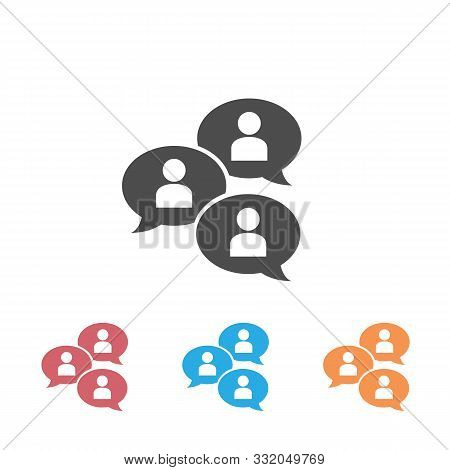 Group Chat Bubbles Or Forum Discussion Set Icon With Multiple People Chatting Flat Vector Icon For A