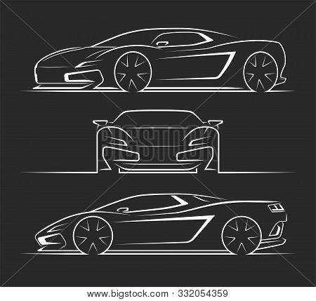 Sports Car Silhouettes, Outlines, Contours. Front, Side, Perspective View Of Sportscar. Can Be Used