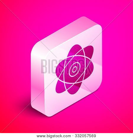 Isometric Atom Icon Isolated On Pink Background. Symbol Of Science, Education, Nuclear Physics, Scie