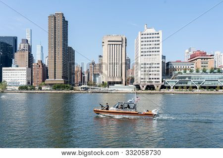 New York, United States Of America - September 23, 2019: A U.s. Coast Guard Boat Patrolling On The E