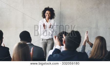 Business Presentation. Grateful Audience Clapping Hands To Speaker After Informative Training