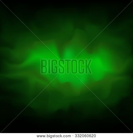 Poisonous Green Smoky Vector Background, Fog. Abstract Of Energy, Plasma. Glowing Cloud Of Smoke On
