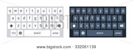 Smartphone Keyboard In Light And Dark Mode, Keypad Alphabet Buttons In Modern Flat Style, Mobile Pho