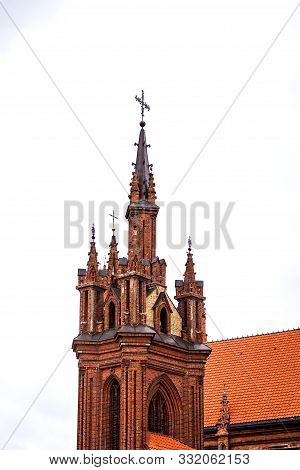 Vilnius Latvia, Old Church, St Anna's Church And Bernardine Monastery Cathedral In Old Town Of Vilni