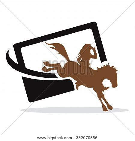 Cowgirl, Horse And Smartphone, Vector Graphic Design Element