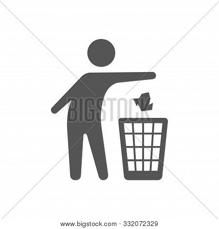 Throwing Trash Vector Icon On White Background. Flat Vector Throwing Trash Icon Symbol Sign From Mod