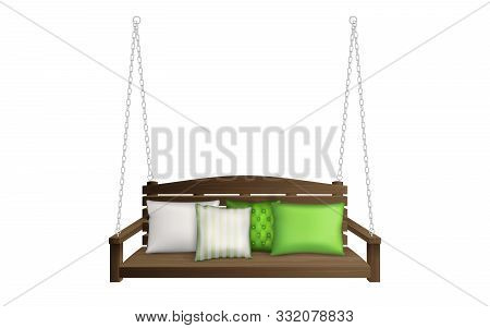 Wooden Porch Swing Bench With Pillows. Classic Outdoor Garden Patio Furniture For Leisure Hanging On