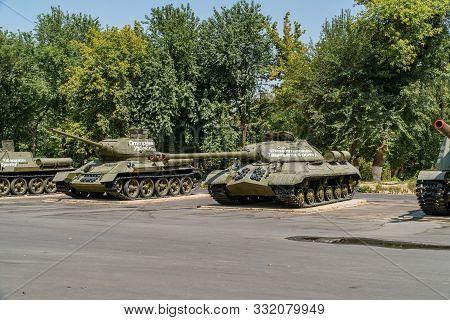 Tashkent, Uzbekistan - September 03, 2018: Old Famous Soviet Union Tanks - T34 And Is-3 That Was Use