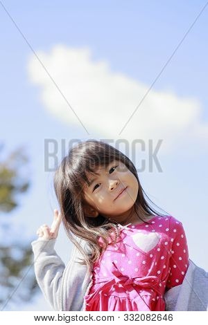 Japanese Girl Under The Blue Sky (5 Years Old)