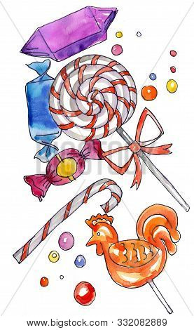 Yellow Sugar Cockerel Rooster Lollipop And Sweets. Watercolor Hand Drawn Illustration Isolated On Wh