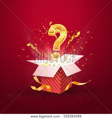 Open Textured Red Box With Question Sign And Confetti Explosion Inside And On Blue Background. Myste