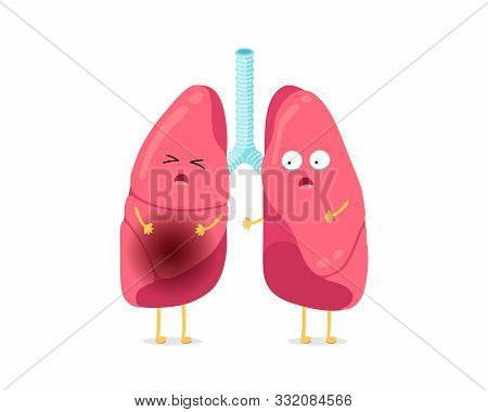 Cute Cartoon Funny Unhealthy Illness Lungs Character. Suffering Sick Lung Mascot With Pneumonia. Hum