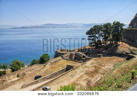 Ruins Of The Old Fortress On The Island Of Corfu. Greece