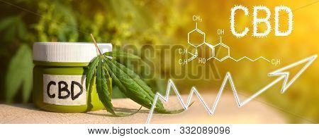 Business Marijuana Leaves Cannabis Cream Stock Success Market Price Arrow Up Profit Growth Charts Gr