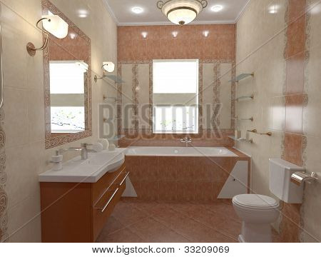 interior of bath-room in orange colors with ornament and decor poster