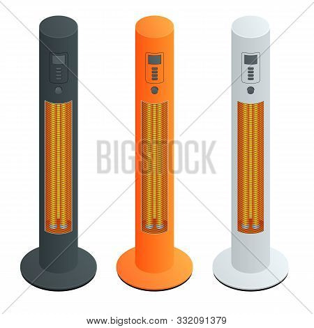 Electric Modern Long-wave Infrared Patio Heaters And Gas Patio Heater. Isometric Best Patio Heaters