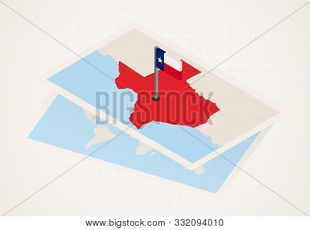 Texas State Selected On Map With Isometric Flag Of Texas. Vector Paper Map.