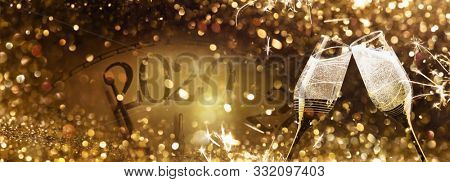New Year's Eve 2020 Celebration Background with Champagne