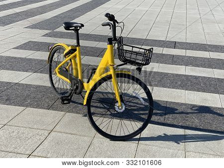 Yellow Bike With Parking At The Bike Rack On Stone Street