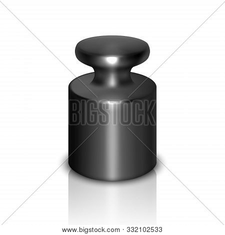 Vector 3d Realistic Black Metal Gray Calibration Laboratory Weight Icon With Reflection Closeup Isol