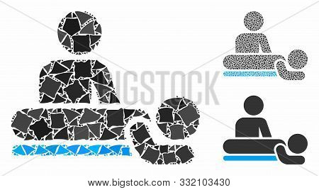 Massage Composition Of Abrupt Elements In Different Sizes And Shades, Based On Massage Icon. Vector