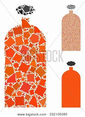 Gas Cylinder Mosaic Of Inequal Pieces In Different Sizes And Color Hues, Based On Gas Cylinder Icon.